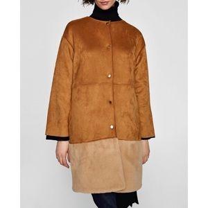 Zara Tan Suede Coat/Jacket with Faux Fur